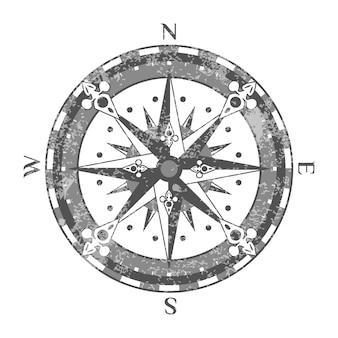 Ikona na białym tle starożytnej róży kompasu