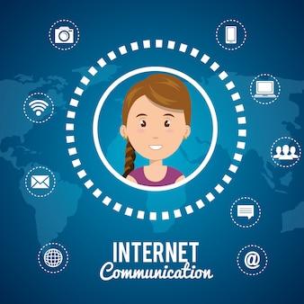 Ikona na białym tle technologia komunikacji internetowej