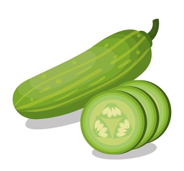 Ikona na białym tle warzywo świeży ogórek