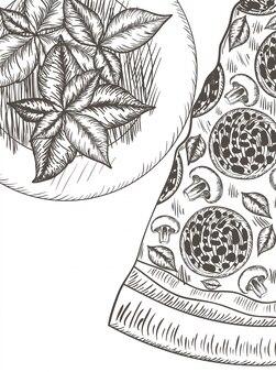 Ikona na białym tle wzór włoskiej pizzy