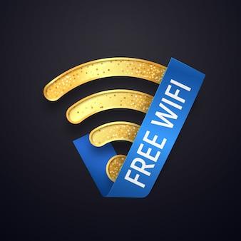 Ikona na białym tle złoty wifi z niebieską wstążką. złoty bezpłatny bezprzewodowy symbol wi-fi. teksturowane logo wi-fi na ciemno