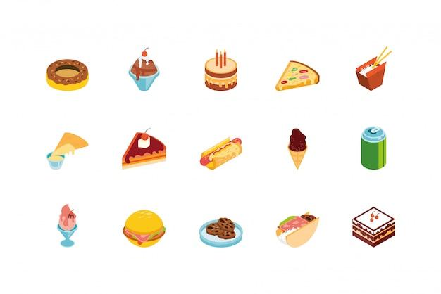 Ikona na białym tle żywności scenografia