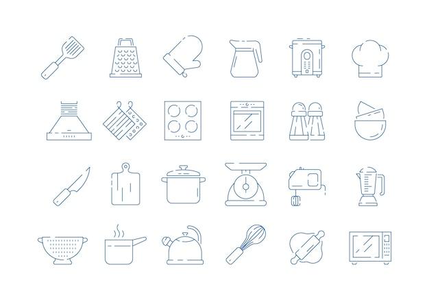Ikona narzędzi do gotowania. gotować rękawiczki domowe zestaw do patelni kuchennej miarki łyżka i widelec skali wektor cienkie symbole na białym tle