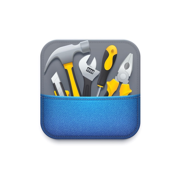 Ikona narzędzia online. usługa wsparcia technicznego użytkownika, aplikacja do naprawy, diagnostyki i konserwacji lub ikona narzędzia, piktogram gui 3d z nożem do golenia, młotkiem i kluczem nastawnym, śrubokrętem, szczypcami
