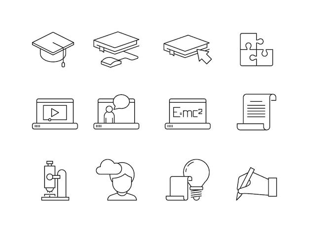 Ikona nauki. szkolenia edukacyjne online specjalnej aplikacji liniowej na białym tle w szkole lub na uniwersytecie
