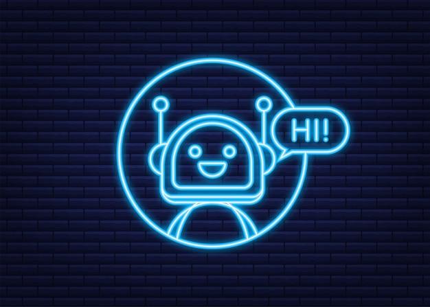 Ikona neon robota. projekt znaku bota. koncepcja symbol chatbota. bot obsługi głosowej. bot wsparcia online. ilustracja wektorowa.