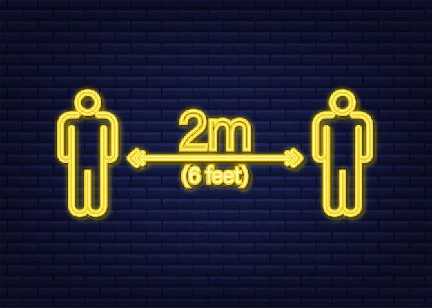 Ikona neon znak społecznej odległości. proszę czekać tutaj. zachowaj bezpieczną odległość