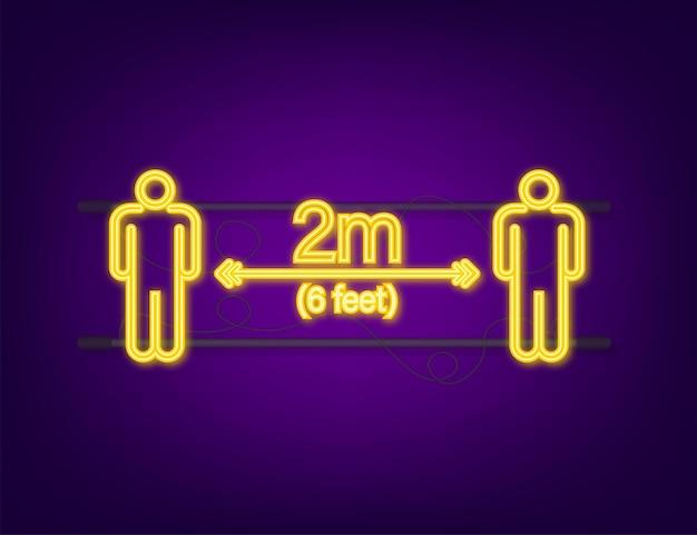 Ikona neon znak społecznej odległości. proszę czekać tutaj. zachowaj bezpieczną odległość.