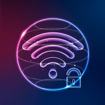 Ikona neonowa technologia komunikacji internetowej z blokadą