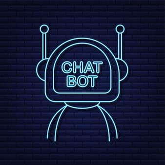 Ikona neonu robota projekt znaku bota koncepcja symbolu chatbota bot usługi wsparcia głosowego