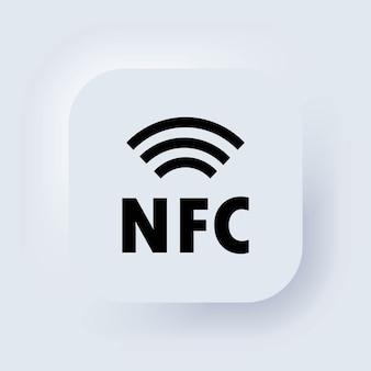 Ikona nfc. ikona płatności zbliżeniowych. płać bezprzewodowo. karta kredytowa. biały przycisk sieciowy interfejsu użytkownika neumorphic ui ux. neumorfizm. ilustracja wektorowa