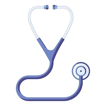 Ikona niebieskiego medycznego stetoskopu opieki zdrowotnej i pierwszej pomocy w płaskim stylu