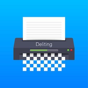 Ikona niszczarki dokumentów biznesowych ochrony informacji biura