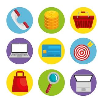 Ikona obiektów związanych z zakupami online