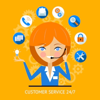 Ikona obsługi klienta z bardzo uśmiechniętą dziewczyną z call center w zestawie słuchawkowym otoczoną różnymi ikonami online dla płatności wifi wyszukiwania bezpieczeństwa i mediów społecznościowych