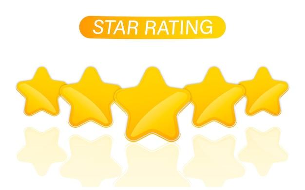 Ikona oceny jakości pięciu złotych gwiazdek. ilustracja wektorowa