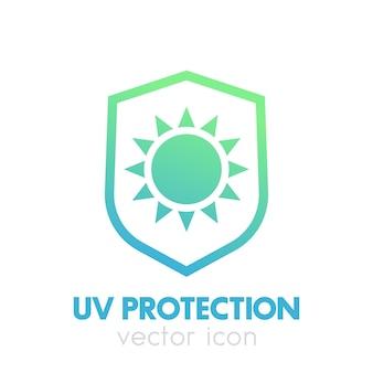 Ikona ochrony przed promieniowaniem uv na białym