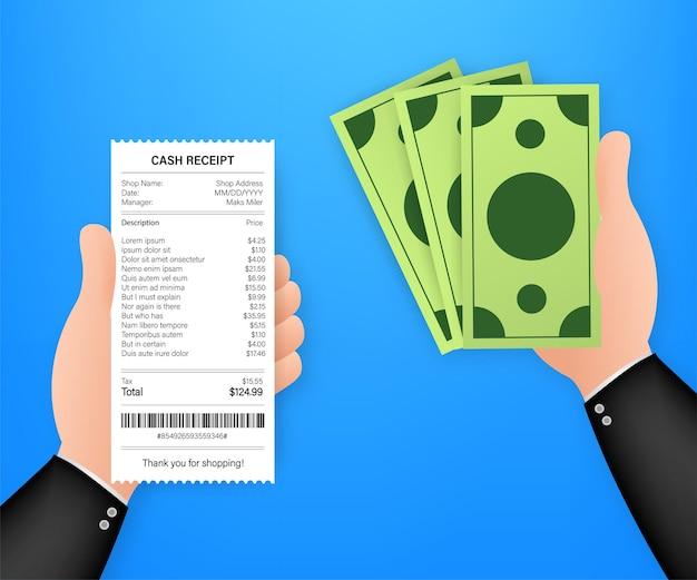 Ikona odbioru w stylu płaski na białym tle na kolorowym tle. znak faktury. szablon rachunku bankomatu lub papierowa kontrola finansowa restauracji.
