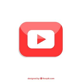Ikona odtwarzacza youtube z płaska konstrukcja
