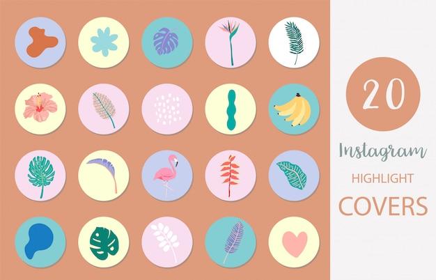 Ikona okładki instagram z palmą, liściem, flamingiem w stylu letnim dla mediów społecznościowych