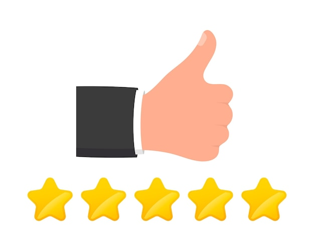 Ikona opinii. kciuki w górę dobre opinie. gwiazda oceny ilustracji wektorowych
