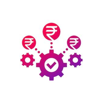 Ikona optymalizacji kosztów i efektywności biznesowej z rupią indyjską