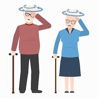 Ikona osób starszych zawroty głowy. znak medycyny