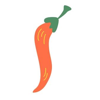 Ikona ostra papryka. papryka chili kreskówka. patrzenie. ostre jedzenie. ikona dla branży spożywczej, przekąska logo wektor elementu marki. ilustracja wektorowa