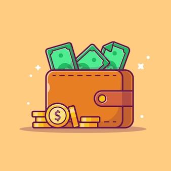 Ikona oszczędności. portfel, pieniądze i stos monet, biznes ikona na białym tle