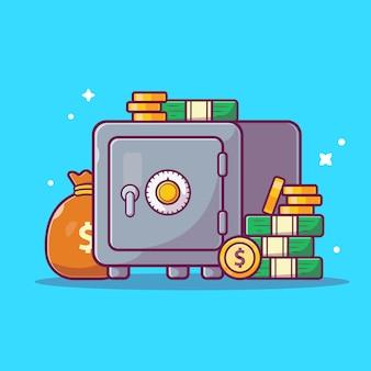 Ikona oszczędności. sejf, pieniądze i stos monet, biznes ikona na białym tle