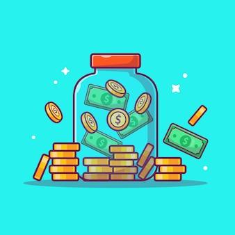 Ikona oszczędności. słoik pieniędzy i stos monet, biznes ikona na białym tle