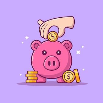 Ikona oszczędności. świnka, pieniądze i stos monet, biznes ikona na białym tle