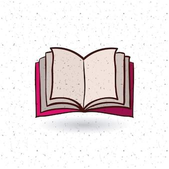 Ikona otwartej książki. Czytanie z literatury edukacyjnej i temat biblioteki. Izolowany projekt. Tekstura tło.
