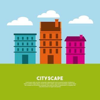 Ikona panoramę budynków miasta