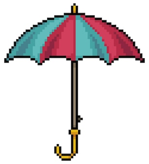Ikona parasol sztuki pikseli do gry bitowej na białym tle