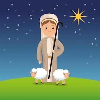 Ikona pasterz na tle nocy