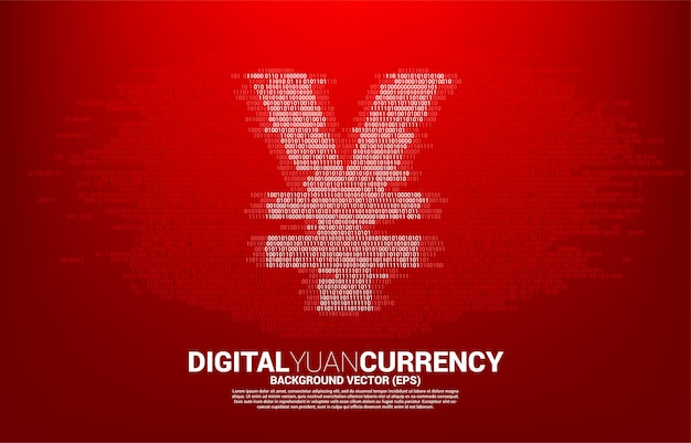 Ikona pieniądze cyfrowe juanów waluty z binarnego zera i jeden kod. koncepcja gospodarki cyfrowej waluty chińskiej i połączenia finansowego sieci.