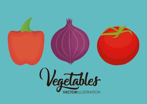 Ikona pieprz, cebula i pomidor