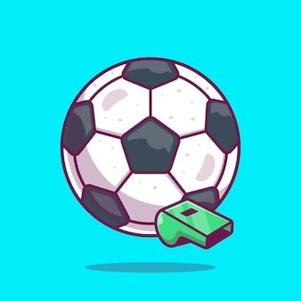 Ikona piłki nożnej. piłka nożna i gwizdek, ikona sport na białym tle