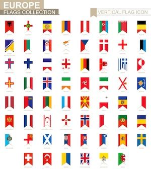 Ikona pionowej flagi europy. kraje europejskie wektor kolekcja flag.