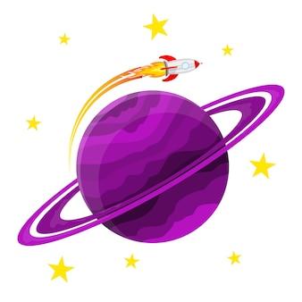 Ikona planety z rakietą. ilustracja