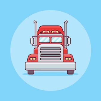 Ikona płaska linia transportu ciężarówek lub ładunków.