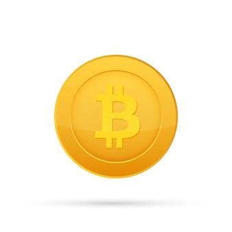 Ikona płaski bitcoin. moneta z walutą kryptograficzną. godło kryptowaluty. odosobniony