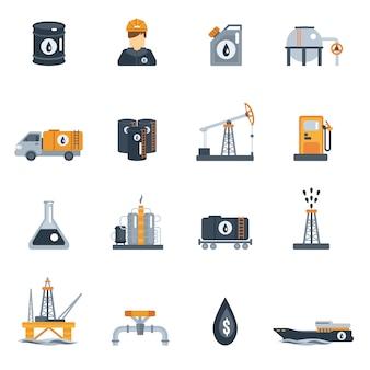 Ikona płaski przemysłu ropy naftowej