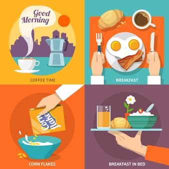 Ikona płaski śniadanie