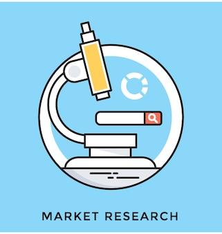 Ikona płaski wektor badań rynku