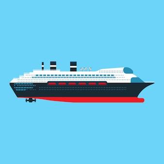 Ikona płaski widok z boku statku wycieczkowego. transport łodzią ocean podróż podróż.