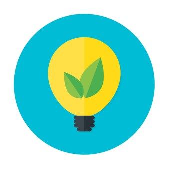 Ikona płaskie koło pomysł eco. ikona płaskie stylizowane koło