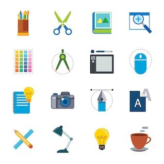 Ikona płaskie narzędzie projektanta