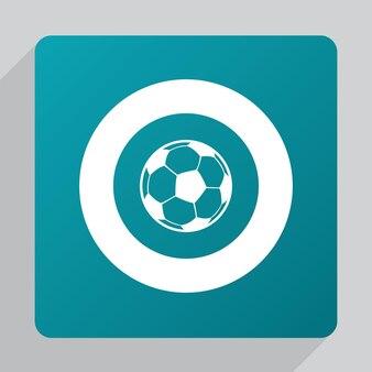 Ikona płaskiej piłki nożnej, biała na zielonym tle